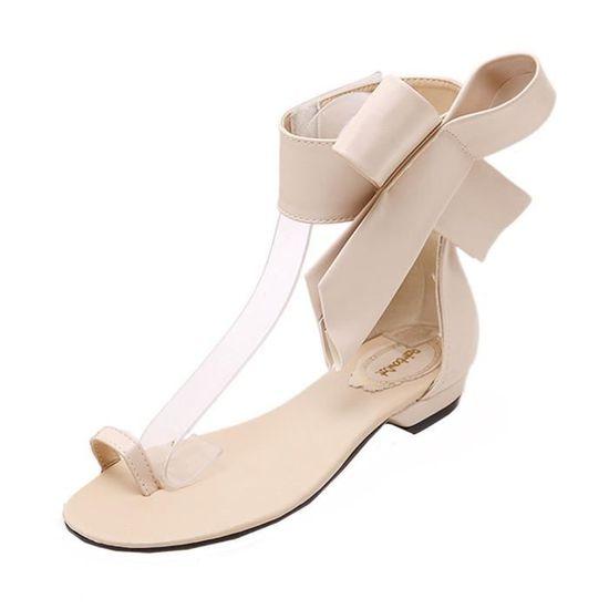 fe962c08c21cc6 Femmes Filles Kaki Sexy Mode Bowknot Hx371 Sandales Chaussures Mignon Party  D'été Plates dw5xHqAP