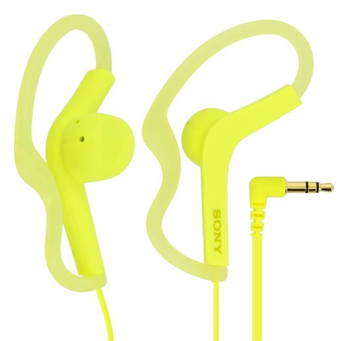 Ecouteurs Original Sony AS210 Contours d'Oreilles Etanches Jack 3.5mm - Jaune