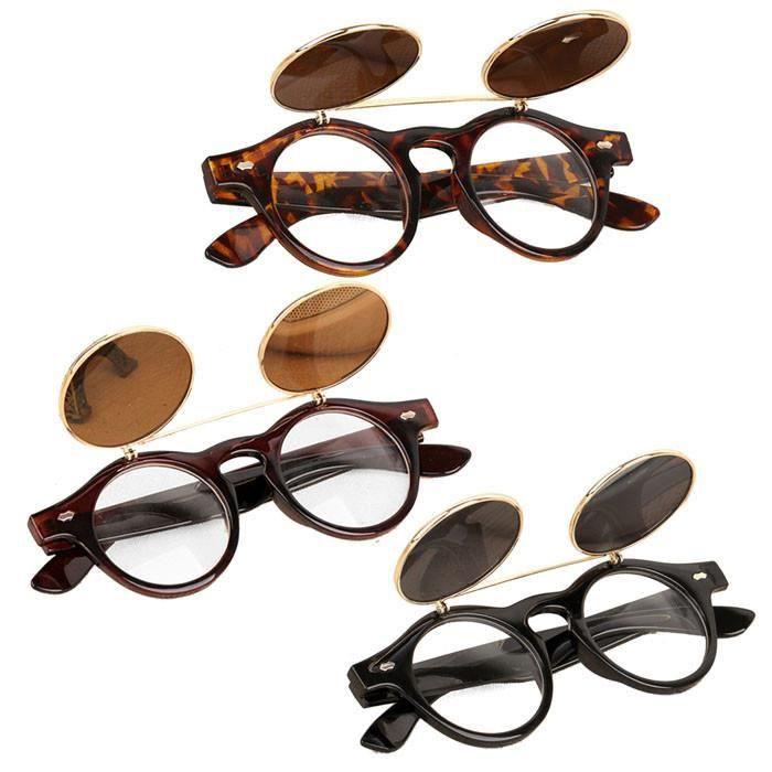 goth Flip verres soleil Vintage up Steampunk lunettes de a solaires rétro qTw6nwtXa