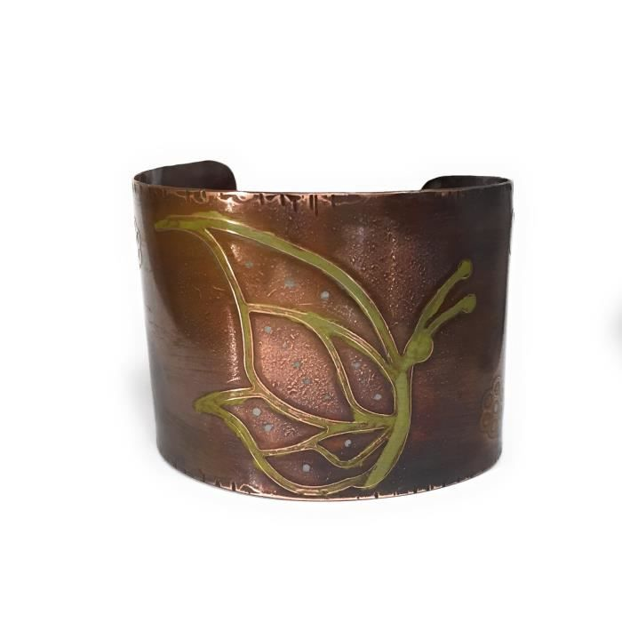 Womens Etched Resting Butterfly Copper Cuff Bracelet PYUH1