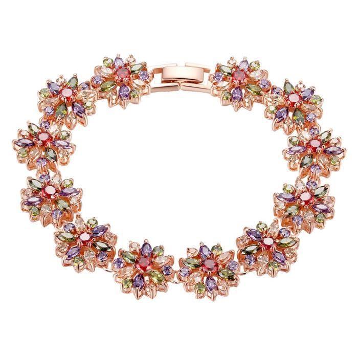 Bracelet en argent plaqué or bracelet dames dames poignet cubique zircone cz cristal