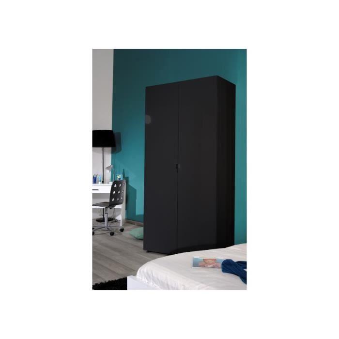 Armoire noire 2 portes cubik achat vente armoire de for Grande armoire noire