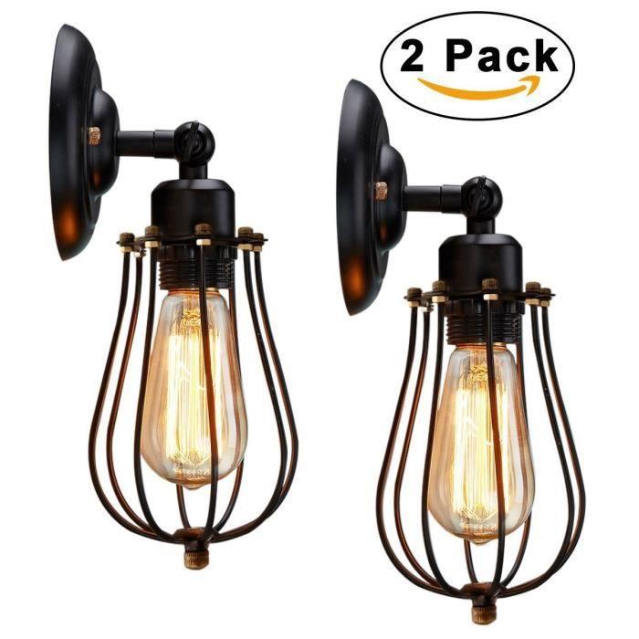 Stars® 2 Pack Murale Vintage E27 Lampe Applique Industrielle Applique  Murale pour Maison Loft Cuisine Salon (Sans Ampoule)