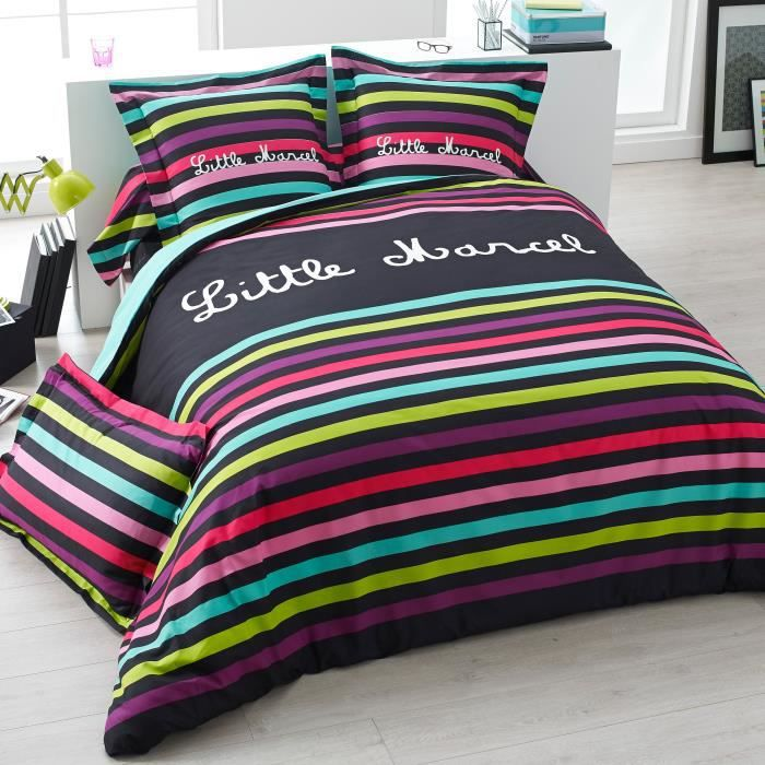 parure de couette 260x240 little marcel multico achat vente parure de couette soldes d s. Black Bedroom Furniture Sets. Home Design Ideas