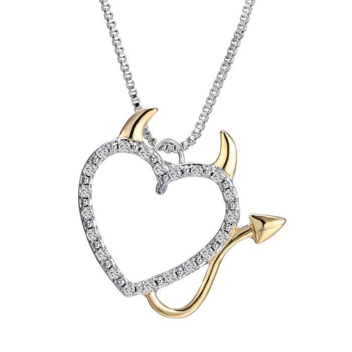 grande vente f1f7b f62c9 MCSAYS Diable Collier Coeur Pendentif Collier Bijoux pour Femme Mode