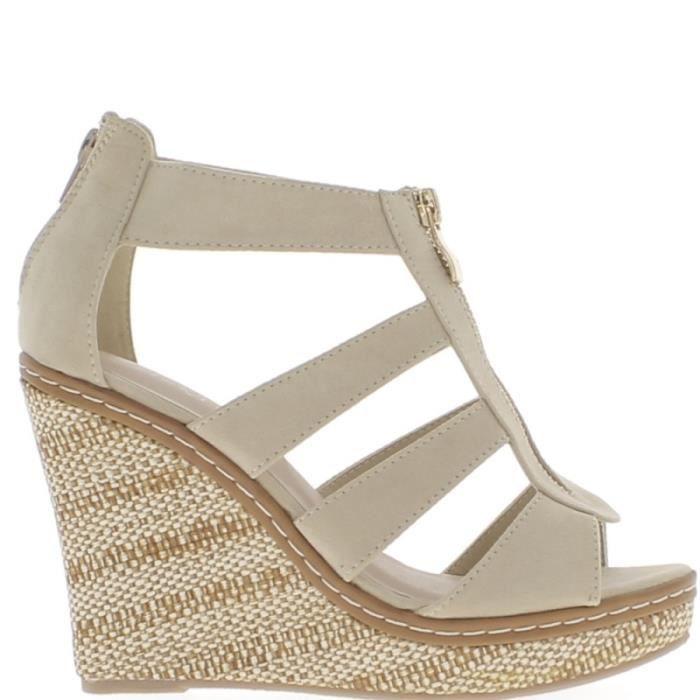 Sandales compensées nude beiges aspect daim à talon de 11 cm avec fines brides et plateforme - Couleur:Beige Pointure: vwkd8pZq