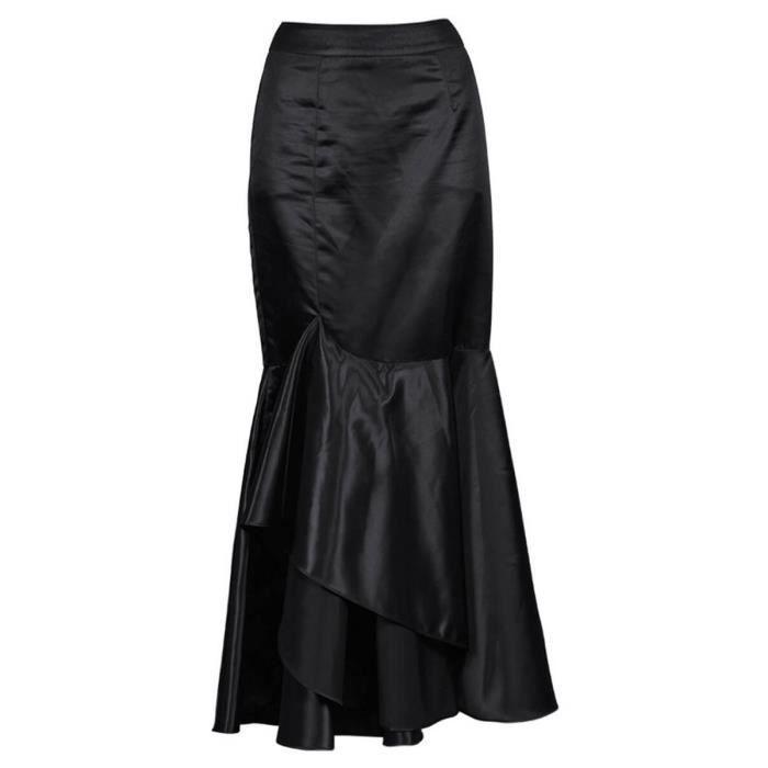0e0c79f93865fe Longue jupe sirène en satin noir élégante gothique fashion, tenue de  soirée, cocktail
