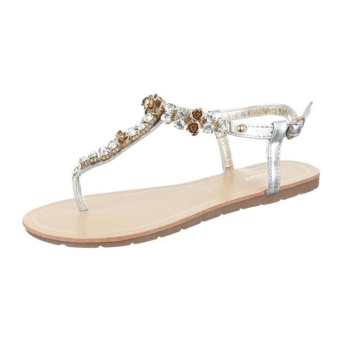 femme sandale chaussure l'orteil sépareravec Strass argent uwXGgKG8o
