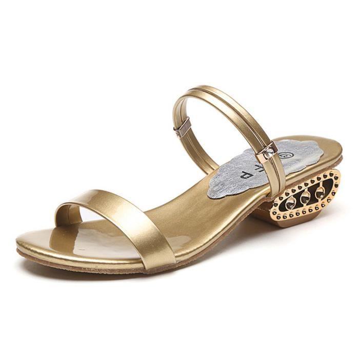 Minetom Femmes Été Talon épais Sandales Chaussons Peep Toe Tongs Flip Flops Chaussure Plage Vacances 2 Types de Vêtements