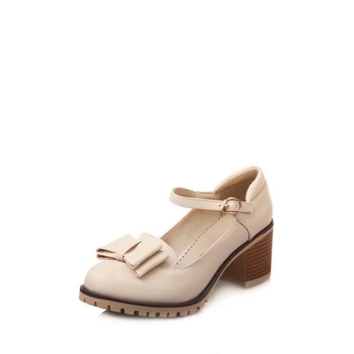 Escarpin Femmes Pompes Doux bowknot Pendentif Chaussures boucle talon épais solide 3756334
