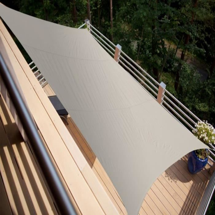 voile d 39 ombrage rectangulaire taupe en polyester 200g m anti uv 420 x 300 cm avec kit de. Black Bedroom Furniture Sets. Home Design Ideas