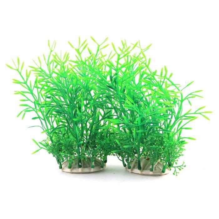 Fish Tank Aquarium Plastic Artificial Plant Grass Decor Landspace Green 2 Pcs