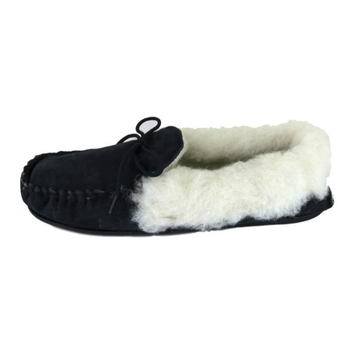 Deluxe Mesdames lambswool Moccasin chaussons avec semelle rigide - Suédé XAGY3 Taille-37