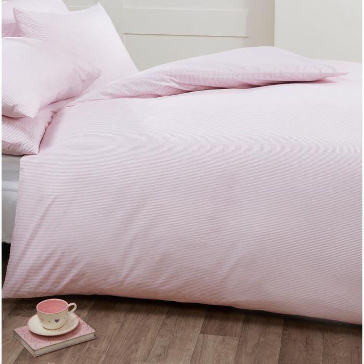 louisiana bedding parure de lit rose et blanc rayures fines housse de couette 260x220 cm. Black Bedroom Furniture Sets. Home Design Ideas