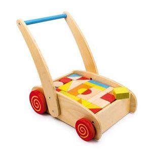 PORTEUR - POUSSEUR Chariot de marche en bois avec roulettes