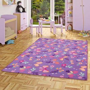 TAPIS Tapis de jeu pour enfant papillon en violet - 17 t
