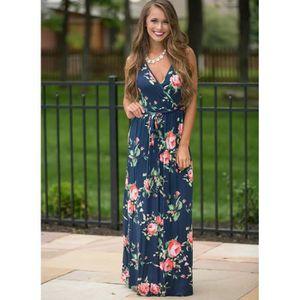 36c57e59e796c Robe d été nouvelle mode col V profond femmes robe longue sans ...
