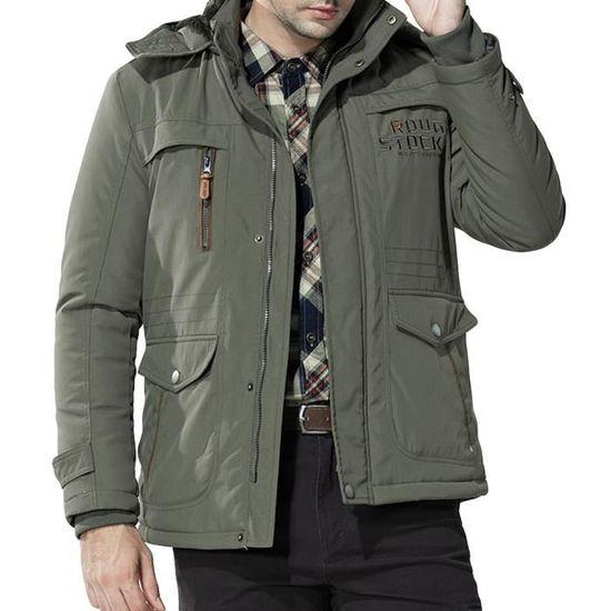 D'hiver Armée Matelassée Coton À Moyenne Plus Épaissie Capuche De Verte Manteau Pour Hommes Veste Taille Longueur La Z46Axq4