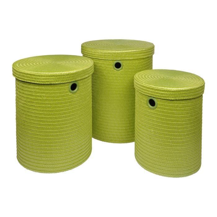 Lot de 3 paniers à linge 18x29x45 cm Vert