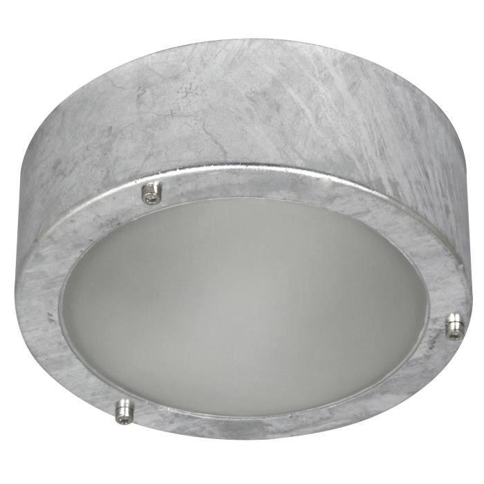 En acier galvanisé et verre trempé - Ampoule non incluse - Culot : E27 - Coloris : gris - Garantie : 2 ans.PLAFONNIER D'EXTERIEUR