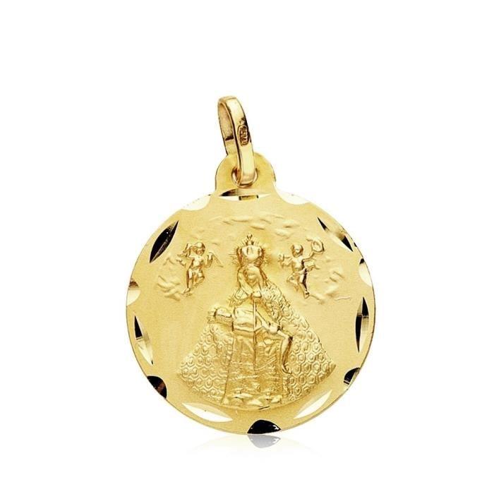 Médaille pendentif Or 18 carats 18mm Vierge de lAfrique. bord découpé [AB3439]
