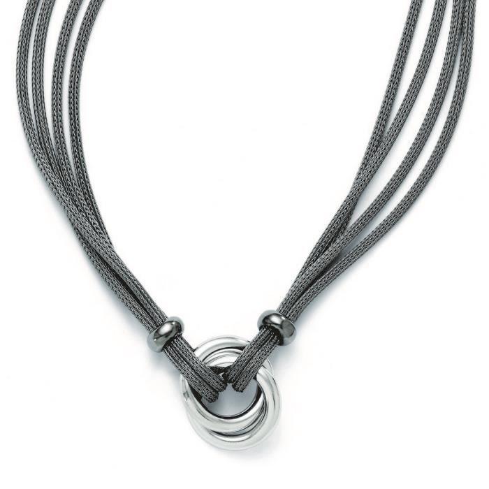 Argent 925/1000 plaqué ruthénium-Collier Maille-poli 18 cm