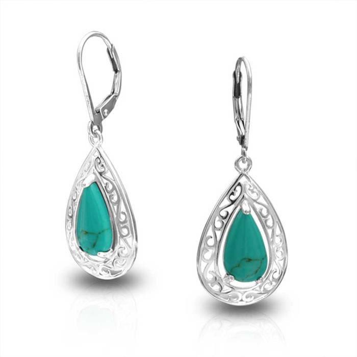 Bling Jewelry Turquoise reconstituée de larme en argent 925 boucles darrière