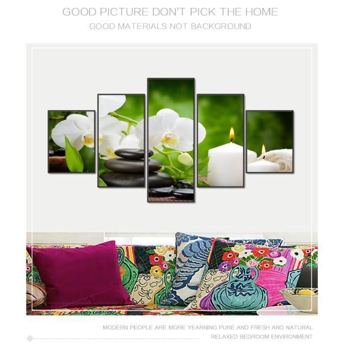 Moderne 5pcs Paysage Maison Art Toile Imprimer Peinture Zen Pierre