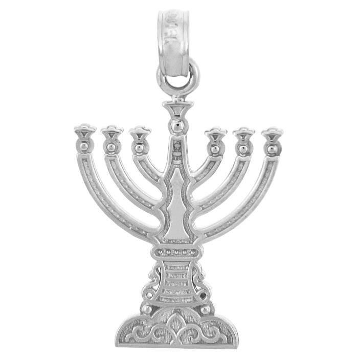 Collier Pendentif10 ct 471/1000 Juif OrCollier Pendentif en orBlanc Menorah (vient avec une Chaîne de 45 cm)
