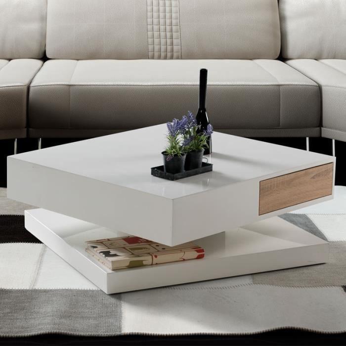 Table basse design laqué blanc et couleur bois ROMANE - Achat ...