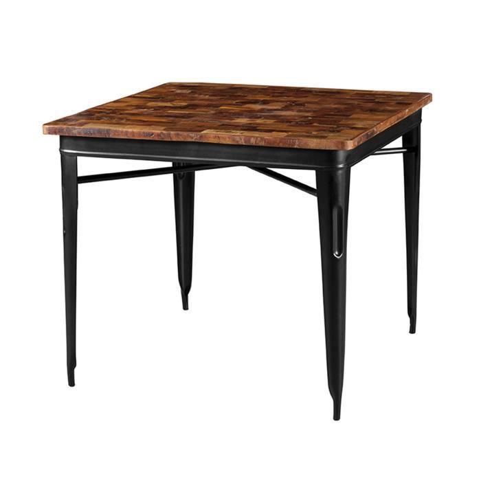 Table Carree Bois Metal.Table Carree 90 Cm En Bois Recycle Et Metal Noir Arty