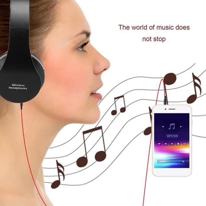 Combo Casque Stéréo Et Bluetooth Pliable Pratique Avec Micro Pour Iphone Téléphone Portable Pc 3.5mm Audio