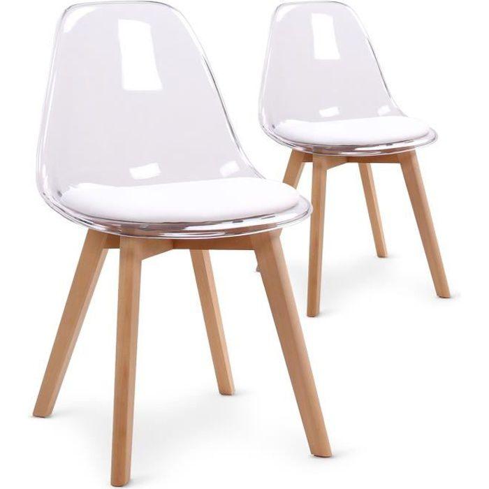 lot de 2 chaises scandinaves bovary plexi blanc - Chaise Plexi Pas Cher