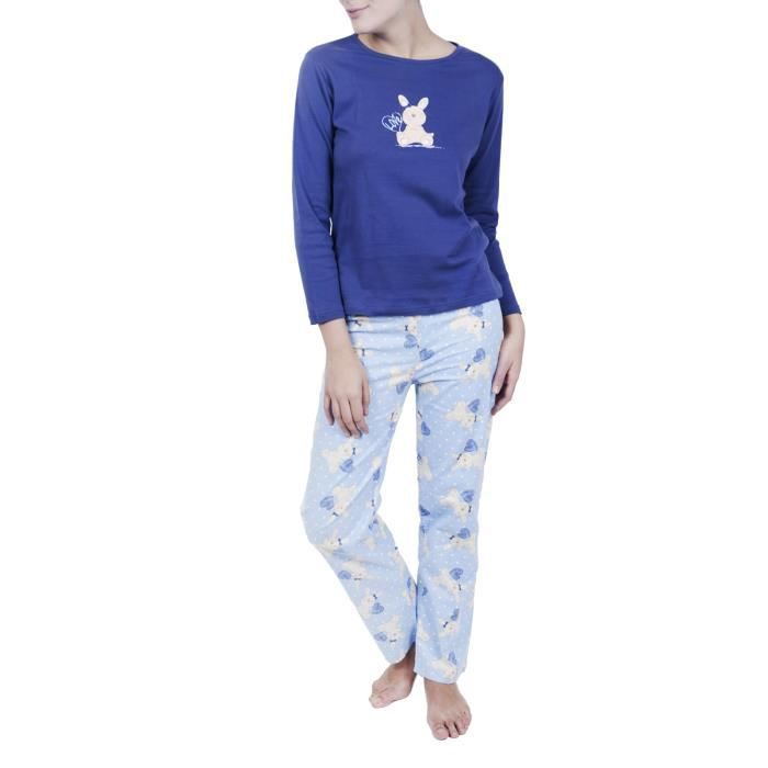 Pyjama Coton et flanelle Chica Chic FEMME coule... Bleu marine ... 3555e755ca0