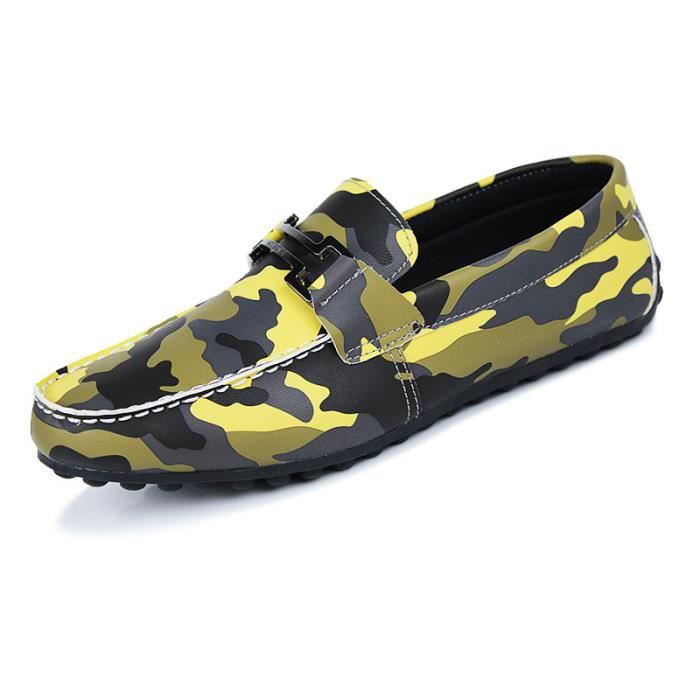 Casual Homme Chaussures Plates Respirante Cuir ...