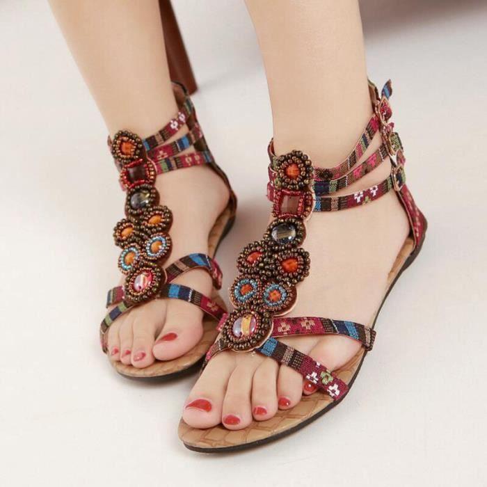 Sandales Femmes Bohémienne été Chaussure Sandale KIANII® Vin-rouge