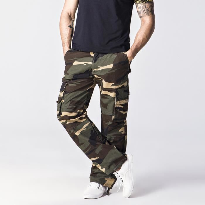 pantalon cargo homme gris camouflage automne marque luxe. Black Bedroom Furniture Sets. Home Design Ideas