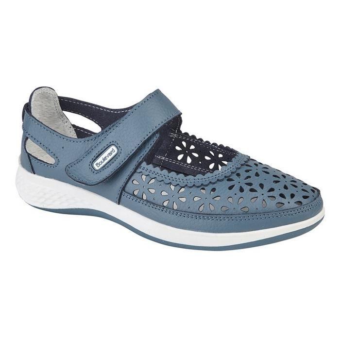 pied Boulevard ouvertes Femme large perforés Chaussures Bleu wtPrqtH