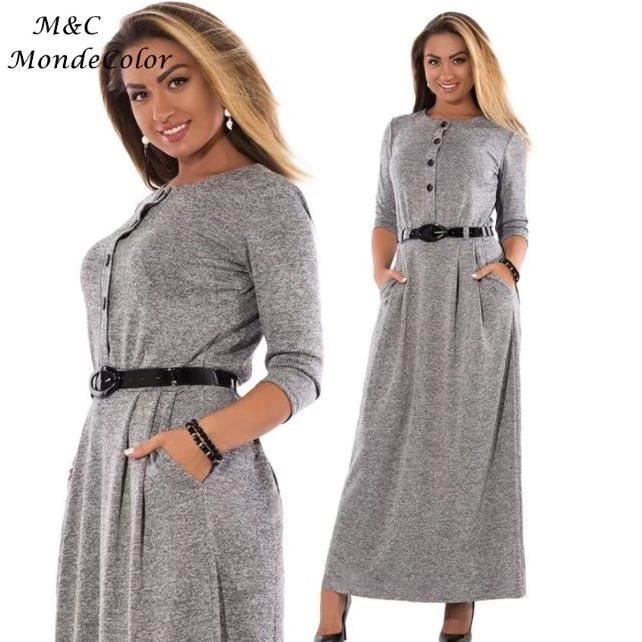 Taille Style Couleur Robe Grande Européen Femme Élégant Sexy Taille de Unie Longue Haute Slim Robe Printemps 2018 Bureau Gris Mode R0qBFwP