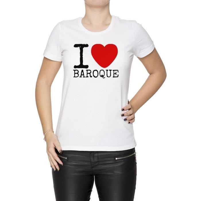 Blanc Taille Baroque Medium Size I Love Shirt M Manches Courtes Women's Femme Cou Tee White D'équipage N8kwPZ0XnO