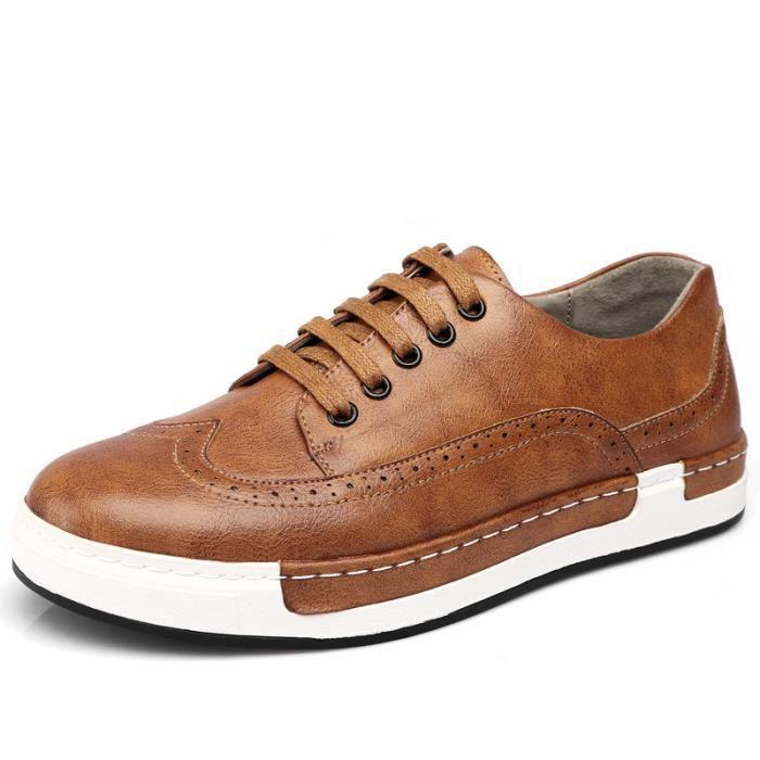 Chaussures Hommes Cuir été hiver Respirant Homme chaussure de ville BBDG-XZ205Jaune38