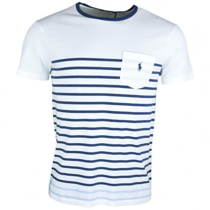 T-shirt col rond Ralph Lauren rayé bleu et blanc pour homme - Taille  S -  Couleur  Blanc 2f056c08837d