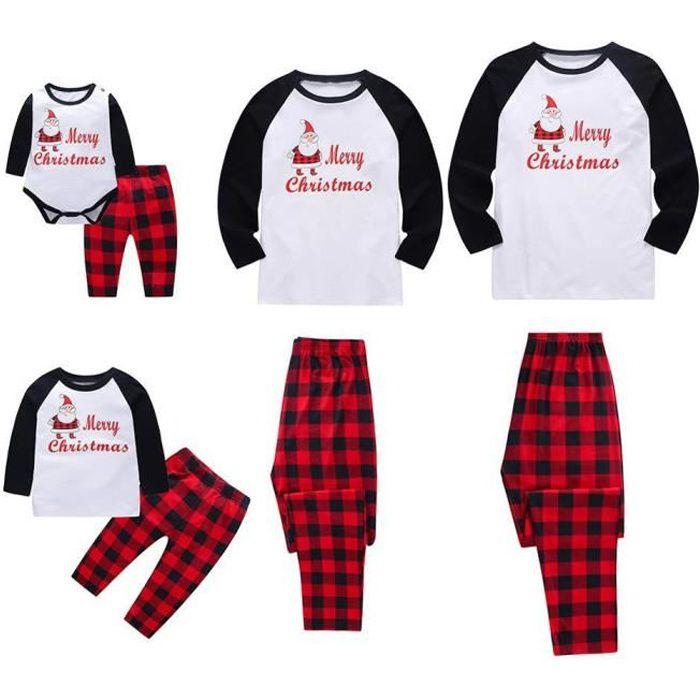 Ensemble Bébé Plaid De Nuit Noël blanc Joyeux Famille Pyjama Assortis Père 4xwBr4fq0I