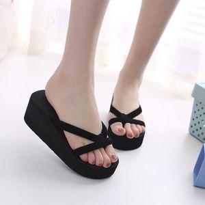 Pantoufles de mode d'été des femmes tongs plage Wedge chaussures à talons épais semelle SJF80306734BU Bleu YVb6e