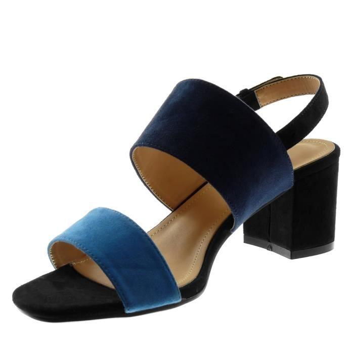 Angkorly - Chaussure Mode Sandale lanière cheville ouverte femme lanière Bicolore multi-bride Talon haut bloc 6.5 CM - Noir - BC373