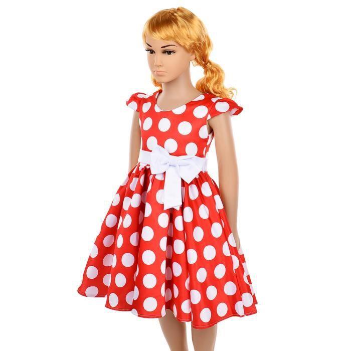 Polka Robe Jupe le Fêtes Mariage 100 pois Manches Manches Okidso size à Fleur les Princesse Robes Nœuds de Fille avec pour fSF0qw