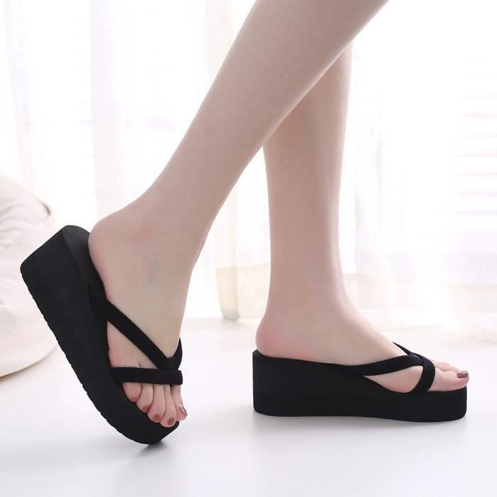 Pantoufles de mode d'été des femmes tongs plage Wedge chaussures à talons épais semelle SJF80306734BK Noir