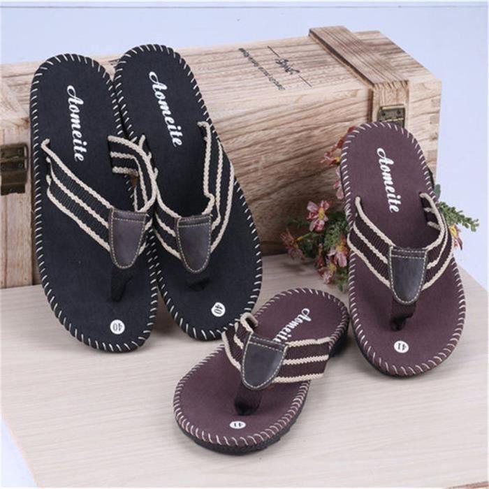 Hommes Tongue Marque De Luxe homme de chaussures d'été sandales Meilleure Qualité marque pantoufle Nouvelle mo dssx104noir42