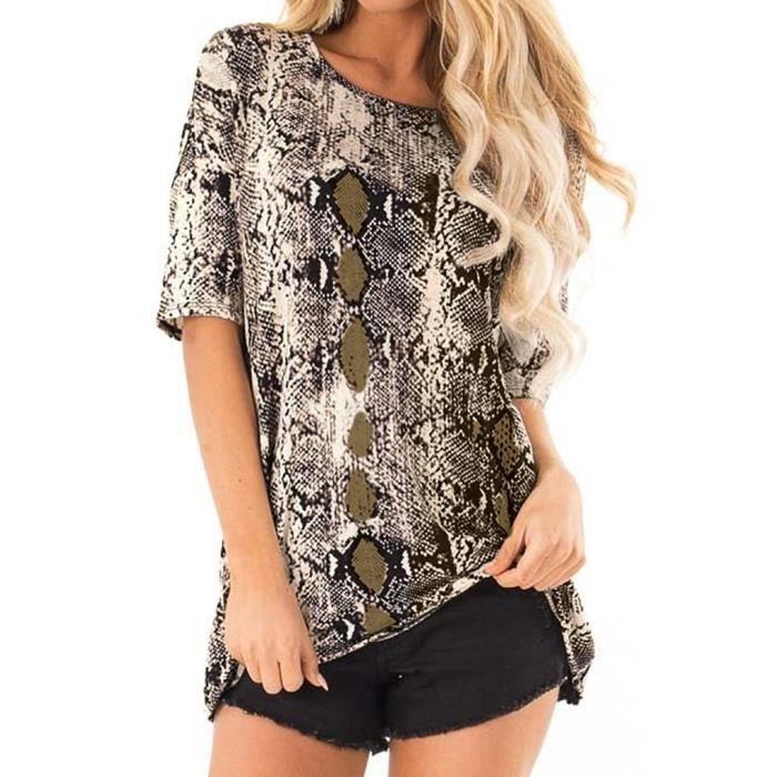 Mode Courtes Décontracté shirt Chemisier Féminine À Serpent T Imprimé D'été Manches Top Dames IfSxrwI