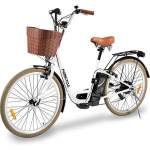 """MOBICYCLE Vélo de ville électrique E-City - Moteur 250 W XAD - Cadre XCX 26"""" - Blanc"""